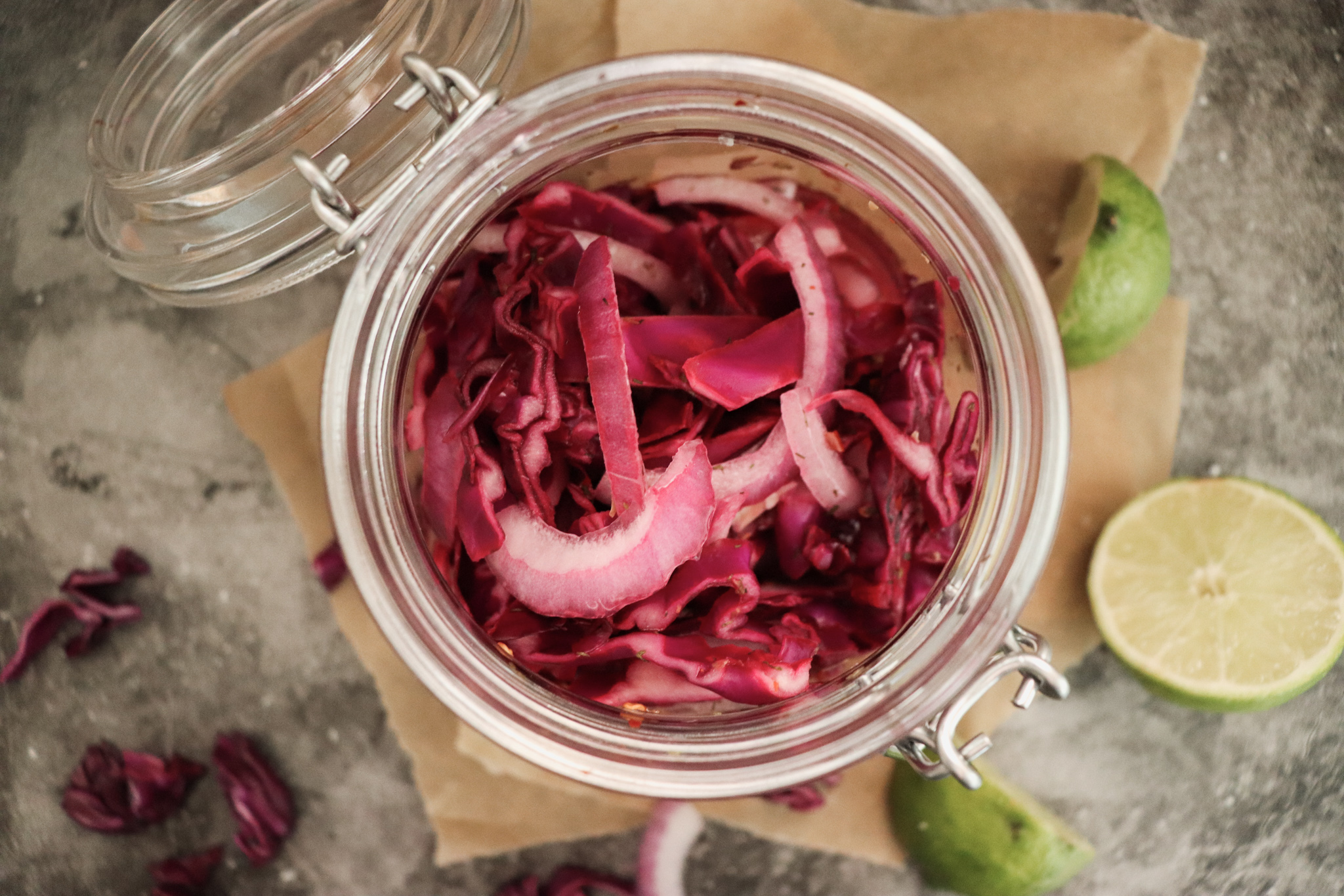 quick pickled red onion and cabbage
