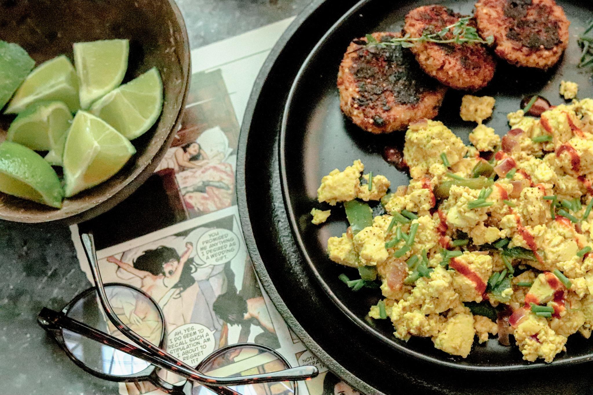 vegan tofu scramble with poblano pepper