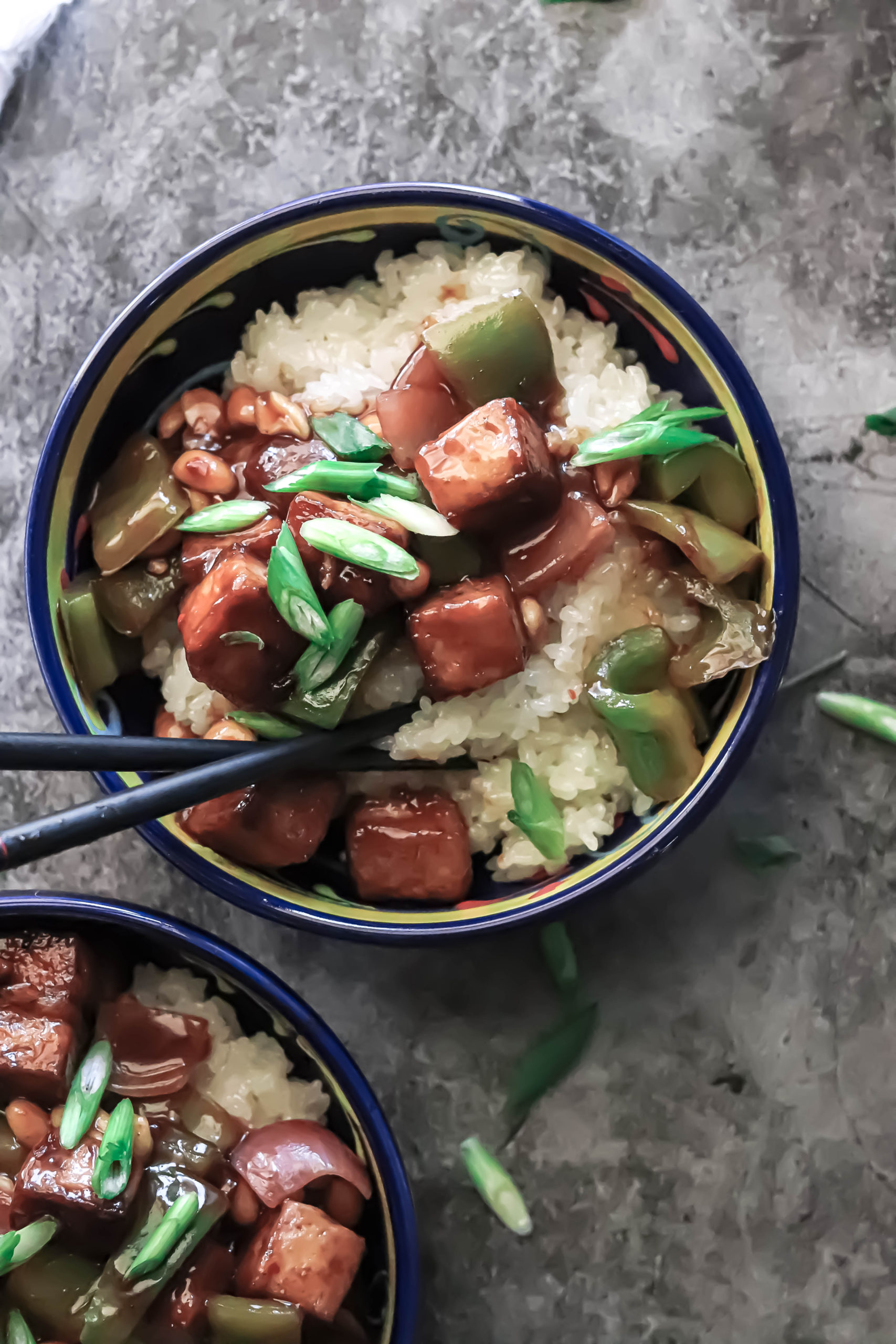 Easy kung pao tofu made with simple ingredients.