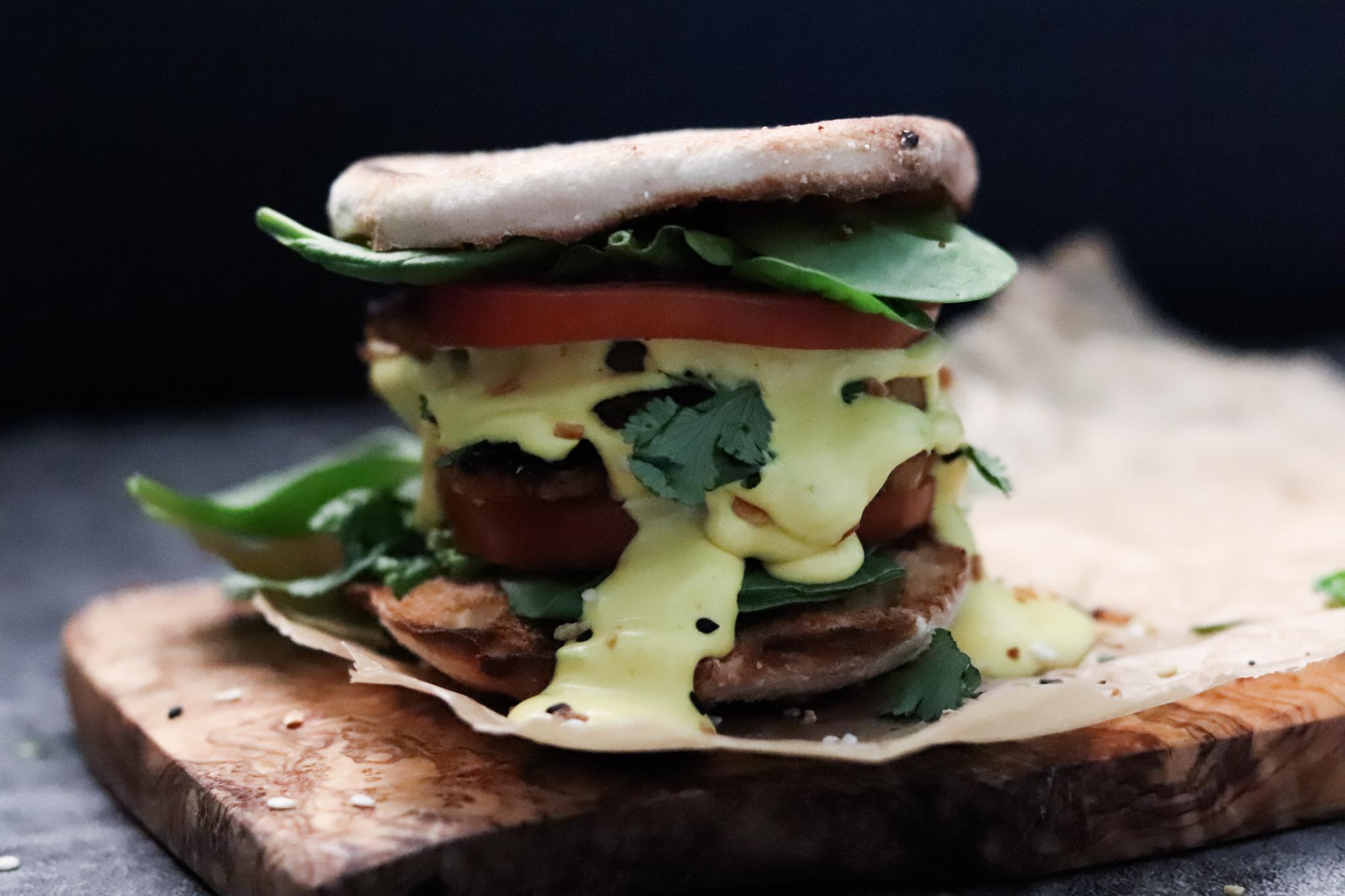 vegan eggs Benedict sandwich