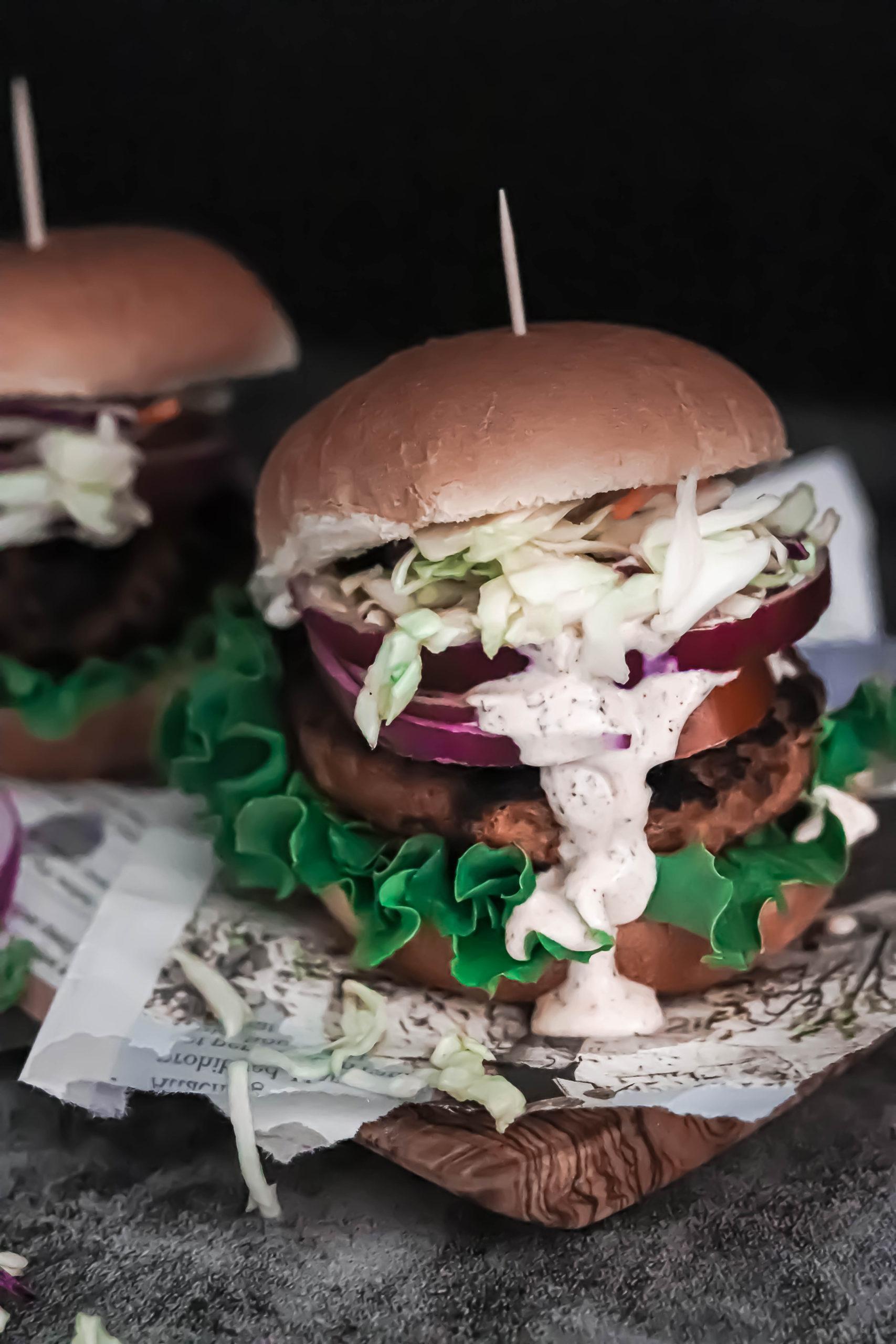 Vegan grillable veggie burger