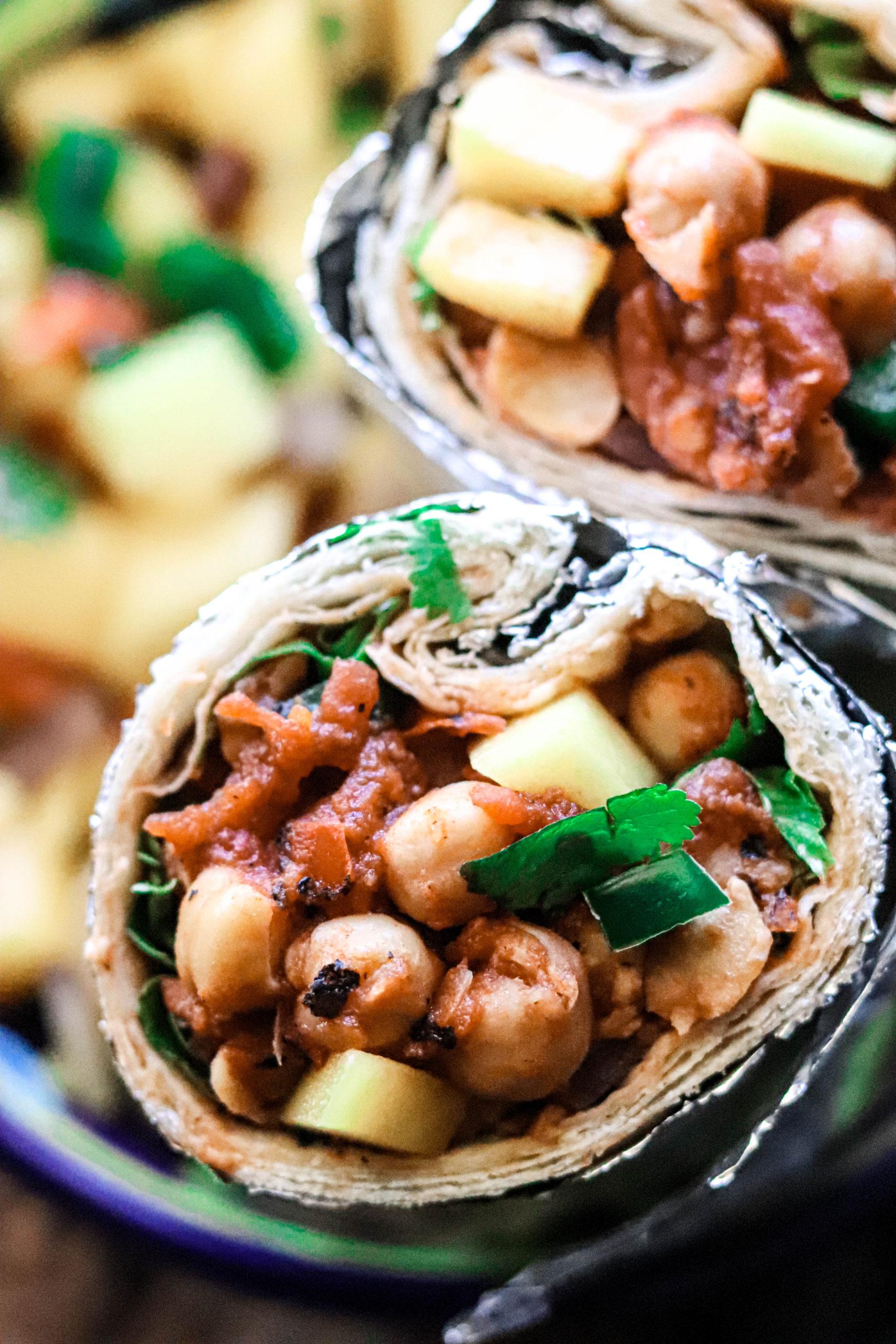 the best vegan chickpea burritos with mango salsa.