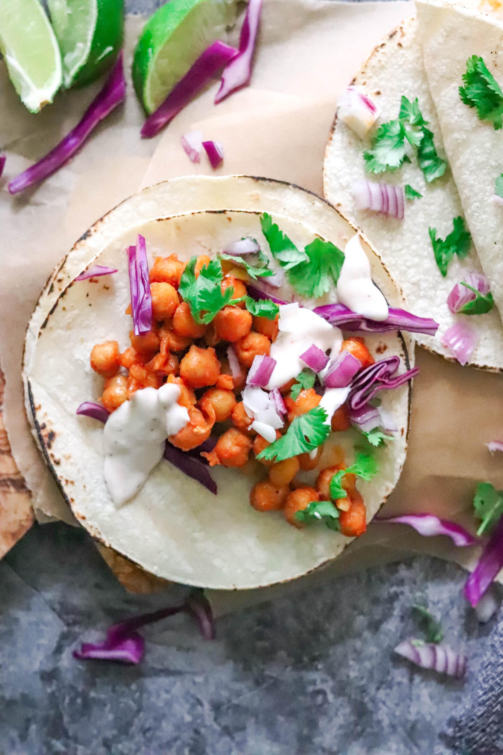 vegan buffalo chickpea tacos