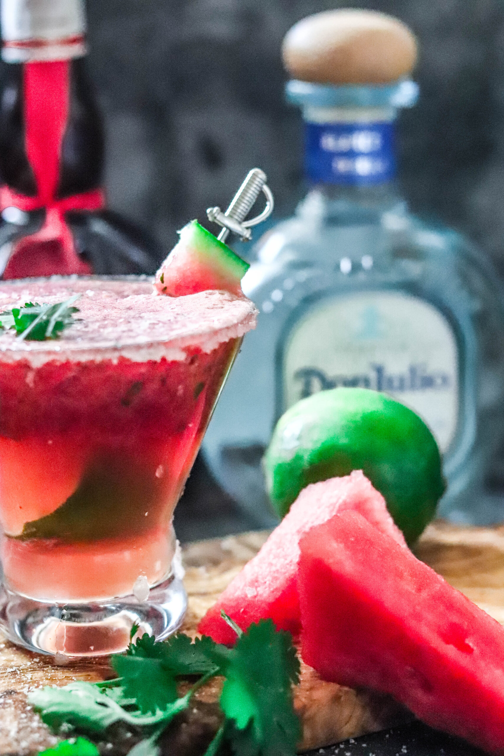 Watermelon margarita cocktail made with lime and Don Julia tequila.